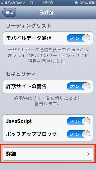 Safariの設定の詳細を選択