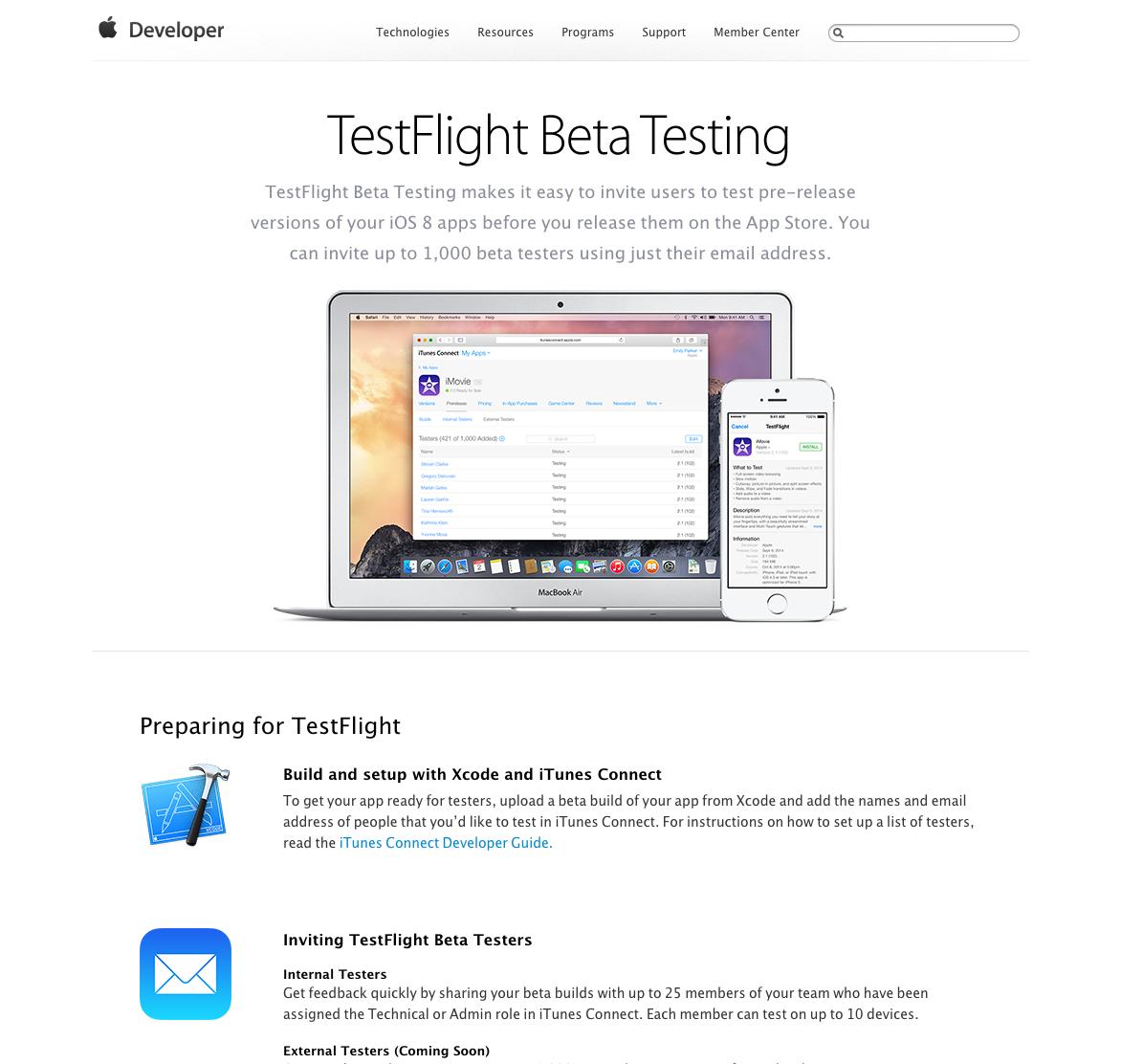 iOS] TestFlight が Xcode / iTunes Connect でサポートされまし