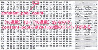 バイナリエディタでconstant_pool_countの値を確認する