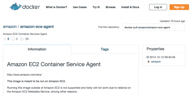 amazon_amazon-ecs-agent_Repository___Docker_Hub_Registry_-_Repositories_of_Docker_Images