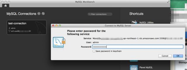 MySQL WorkbenchからRDSへの接続