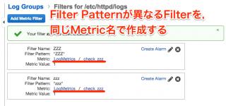 Filter Patternが異なるMetric Filterを、同じMetric名で作成する