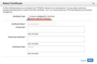 SSLサーバ証明書のアップロード画面