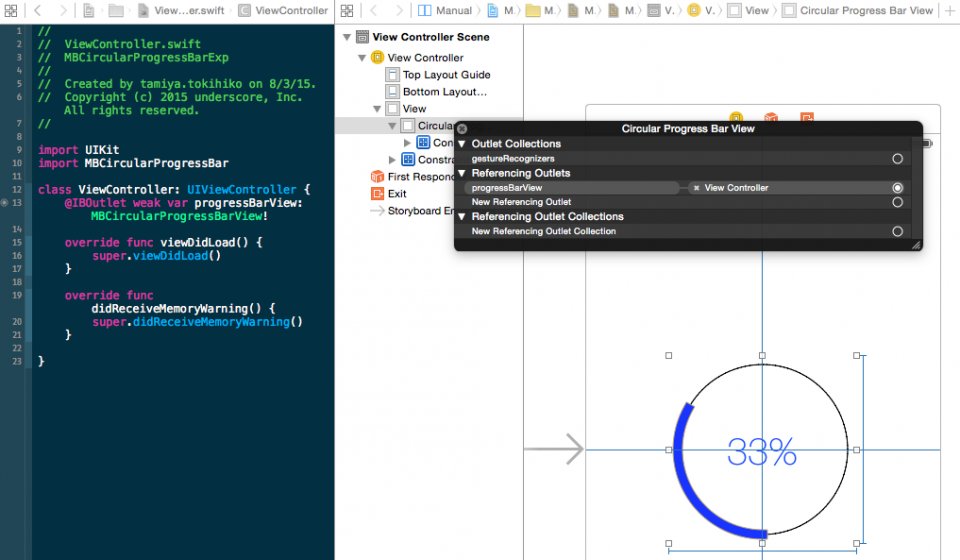 iOS][Swift] MBCircularProgressBar で円形のプログレスバーを