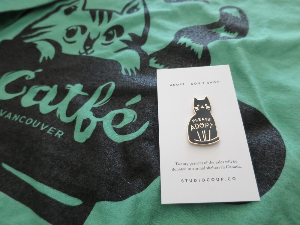 a pin and a T-shirt