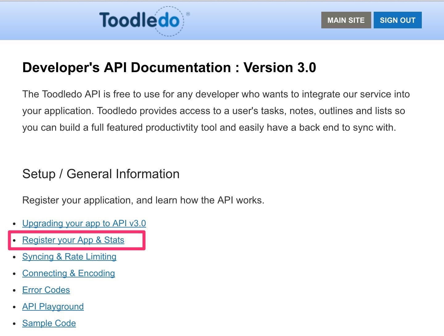 Developer's API Documentation : Version 3.0