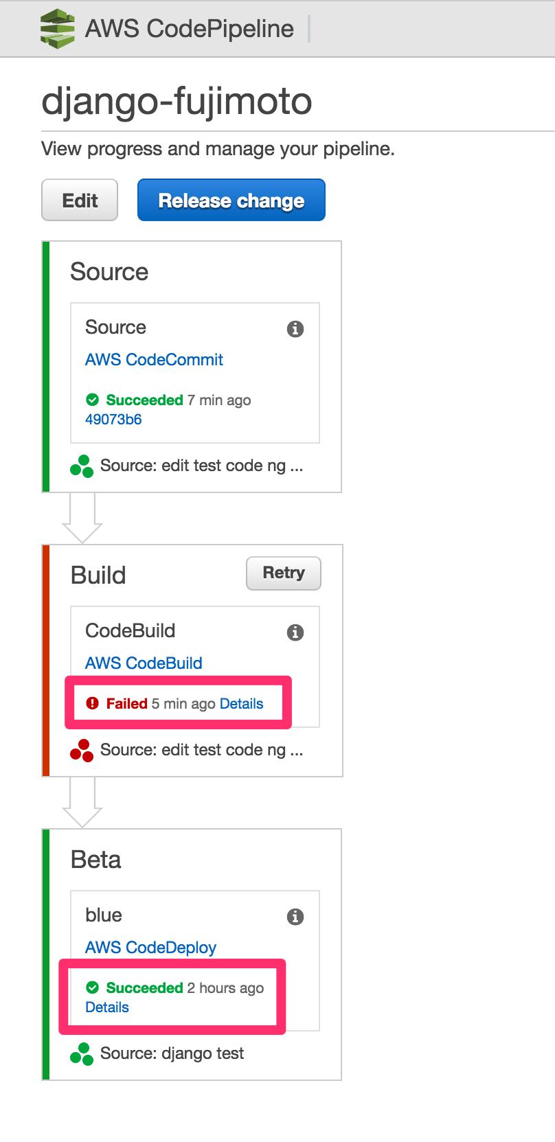 CodePipeline で CodeCommit/CodeBuild/CodeDeploy を繋げてデリバリ
