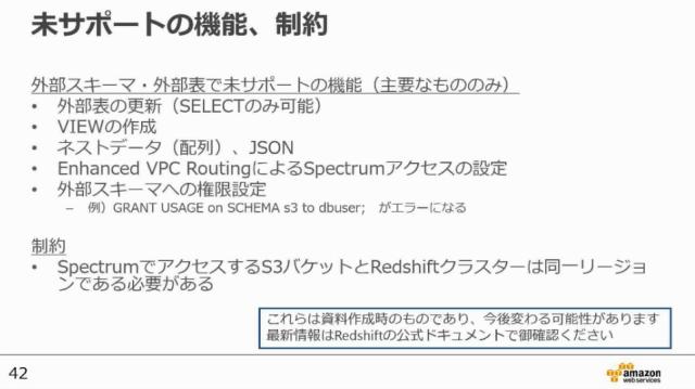 20170607-aws-blackbelt-redshift-spectrum-restricts