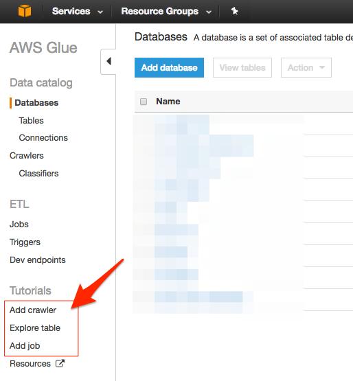 AWS Glue 実践入門:サービスメニュー内で展開されている「ガイド付き