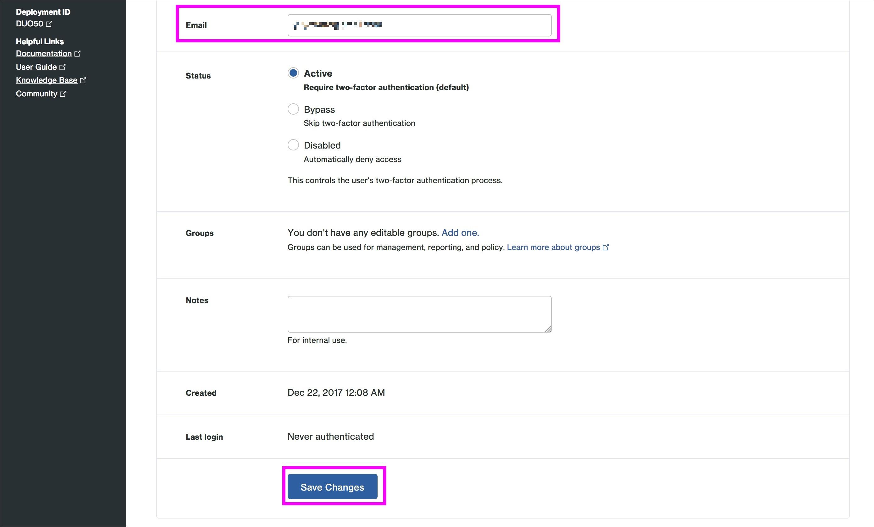 Amazon WorkSpaces MFA with Duo Microsoft AD Duoユーザー登録3