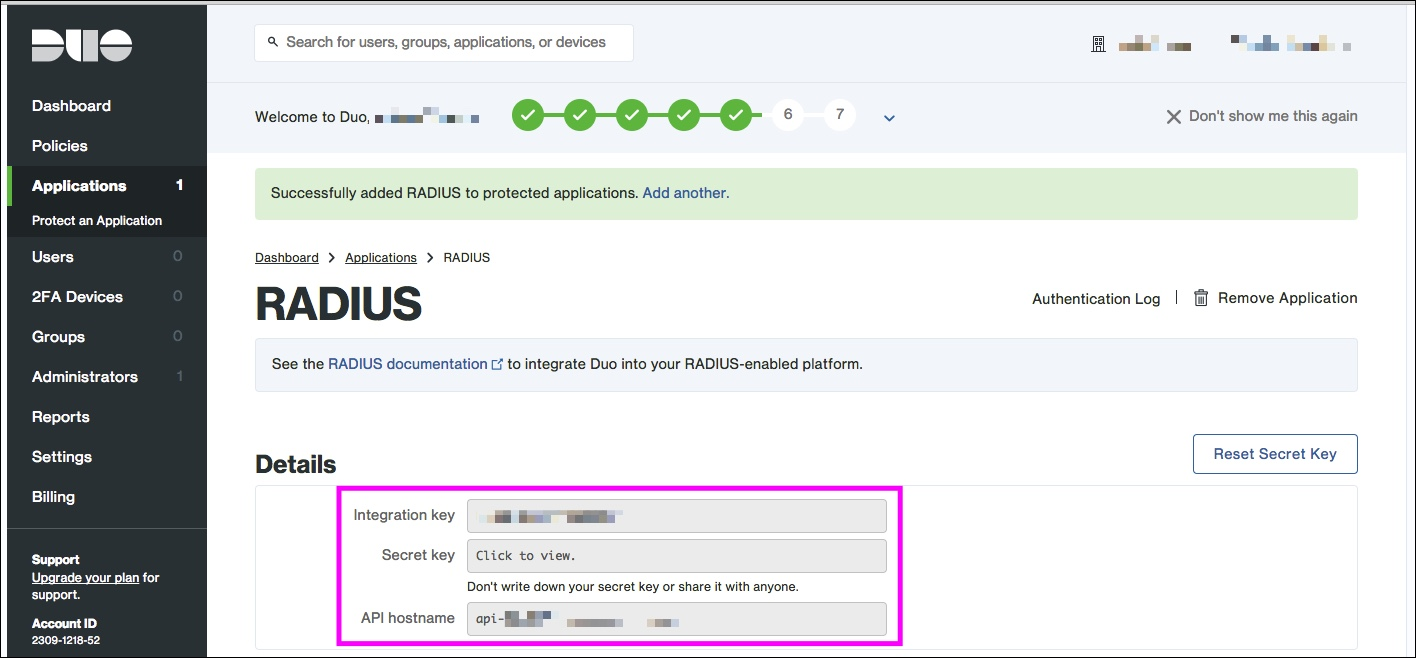 Amazon WorkSpaces + Duo RADIUSアプリケーション登録3