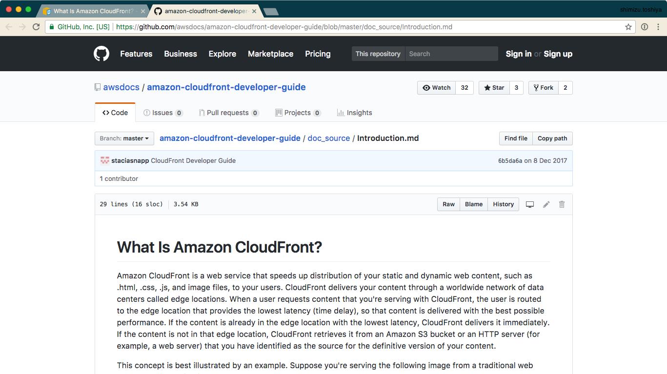 GitHubに公開されているAWSドキュメントのopen source versionを参照して