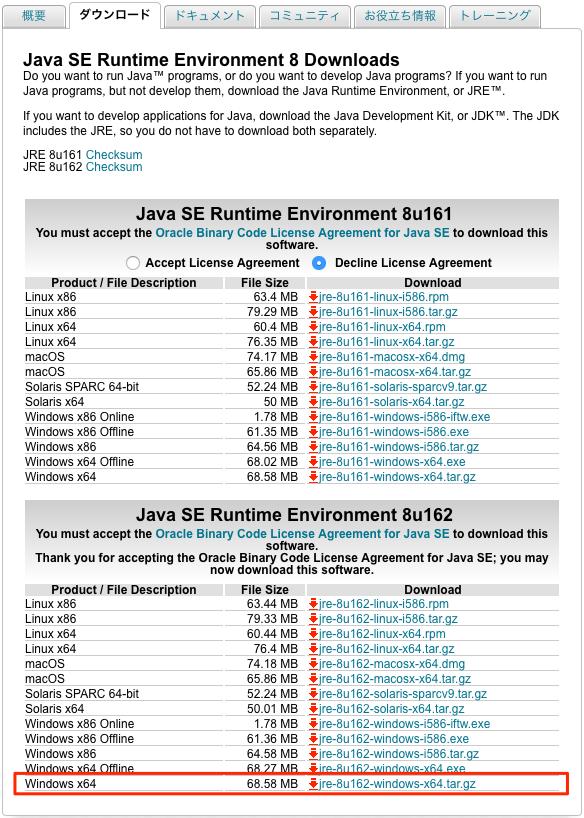 java2 runtime environment ダウンロード