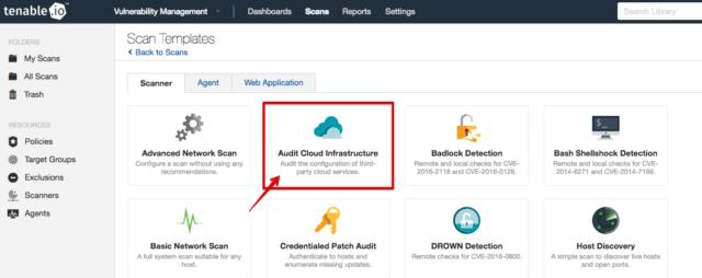 Tenable ioのAudit Cloud InfrastructureでAWS環境のスキャンを
