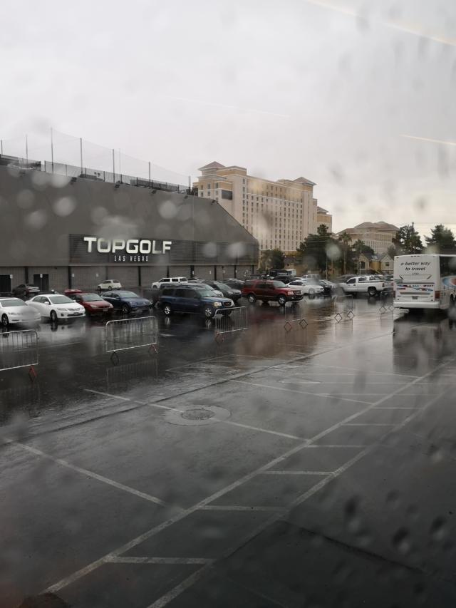 雨のバス移動