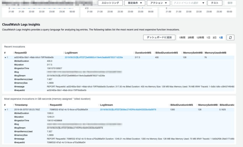 Lambdaの管理コンソールから参照したCloudWatch Logs Insights_2