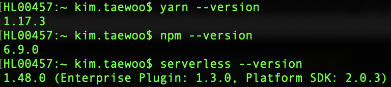 yarn-and-serverless-version