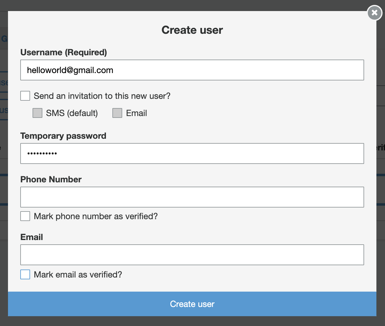 appsync-cognito-create-user-input