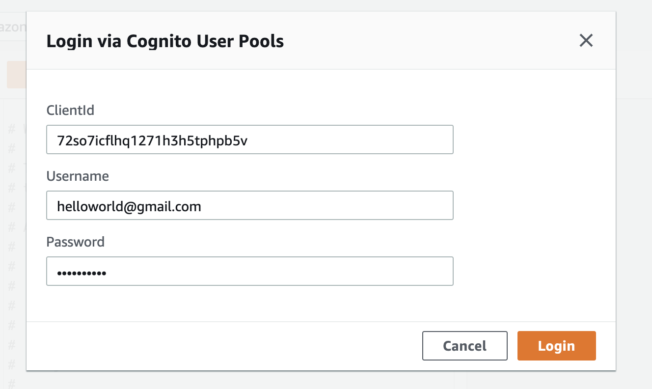 appsync-query-cognito-login