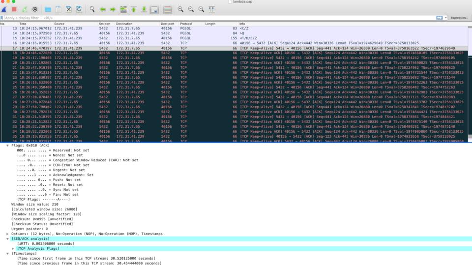 Postgressqlのパラメータtcp_keepalives_xxxxを変更した場合のパケットキャプチャ結果
