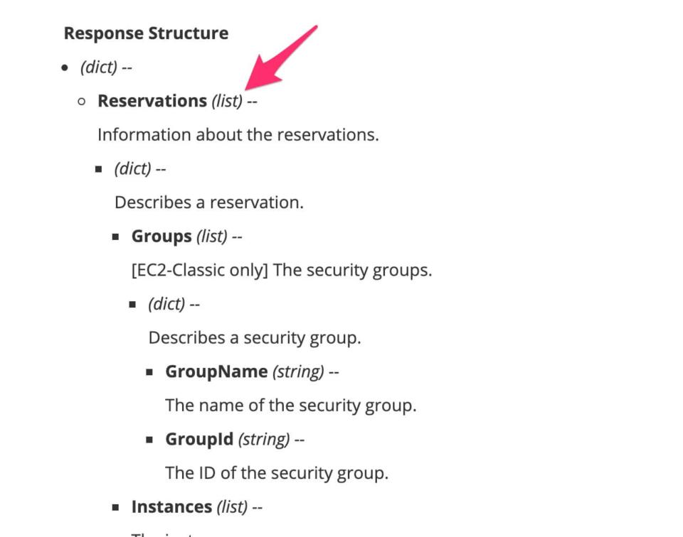 Boto 3 Docs 1.9.194 documentation EC2 describe_instancesのResponse Structure欄