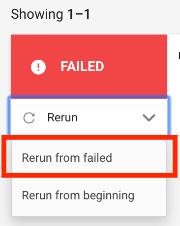 「Return from failed」を選択する
