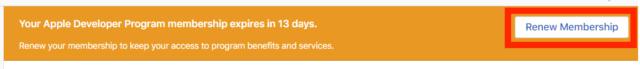 Apple Developer Programeの期限が近い