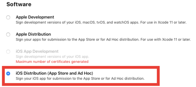 iOS Distribution (App Store and Ad Hoc)を選択する
