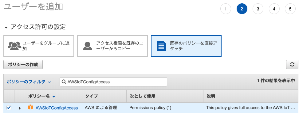 Deguゲートウェイ用のIAMユーザー権限