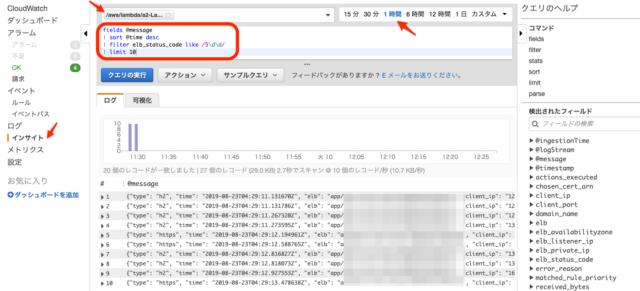 CloudWatch Logs InsightsでALBのELB 5XX発生時のアクセスログを
