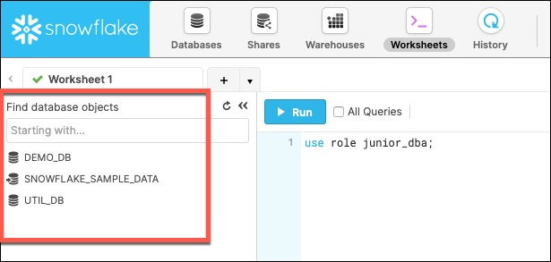 database object browser pane