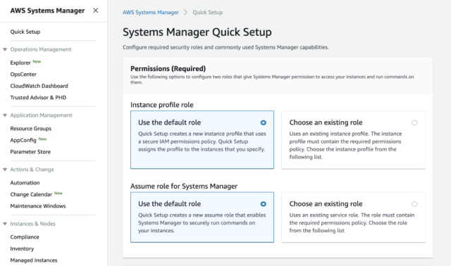 Systems Manager Quick Setup 1