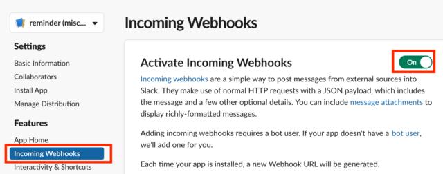 Incoming Webhooksを選択してOnにします。
