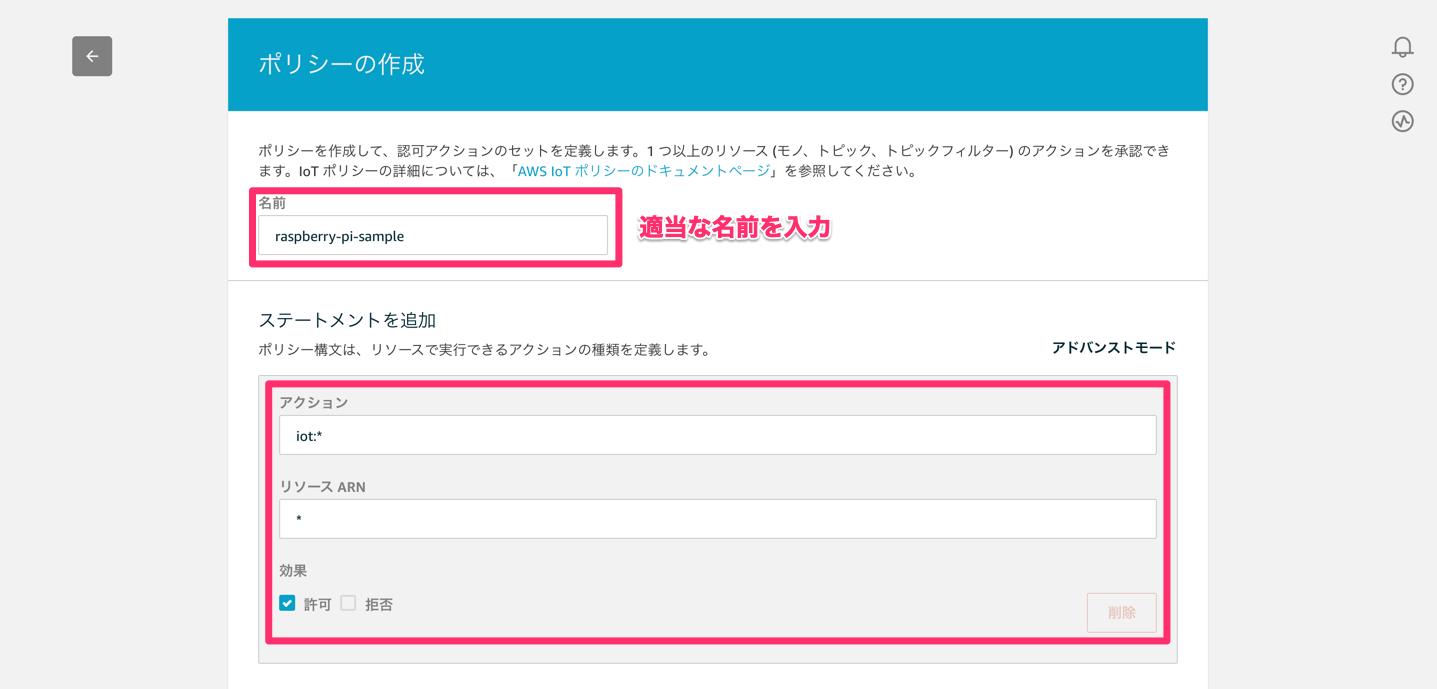 AWS IoT ポリシー作成