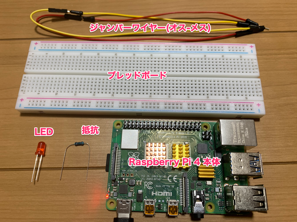 Raspberry Pi 4 Lチカ セット