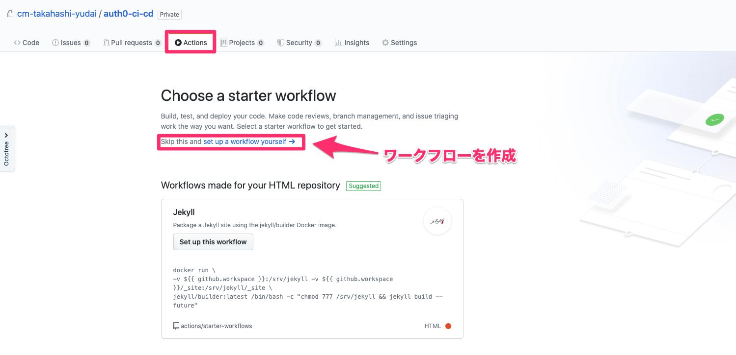 GitHub Actionsワークフロー作成