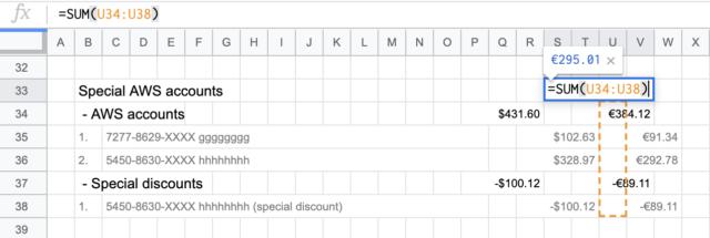 Spreadsheet subtotal