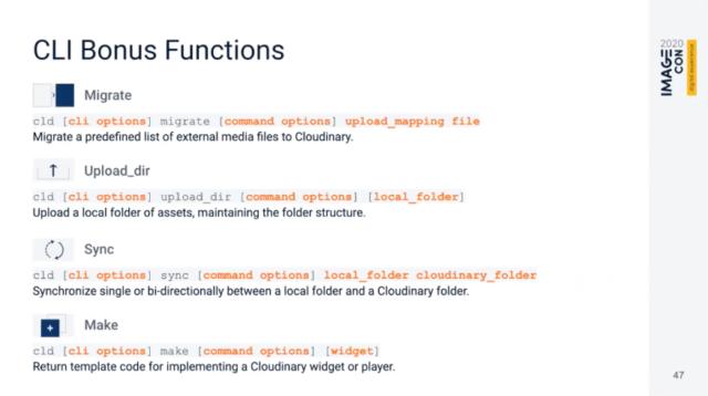 ImageCon2020 Cloudinary CLI Commands