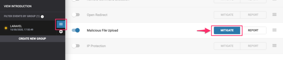 Malicious File Upload を遮断に設定