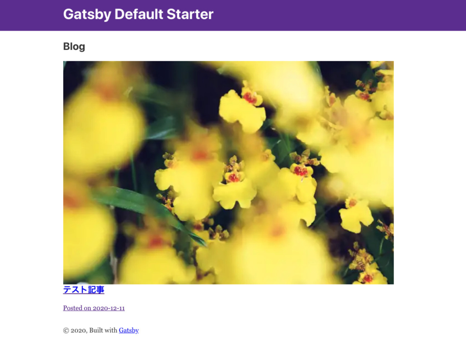 Gatsby.js top page