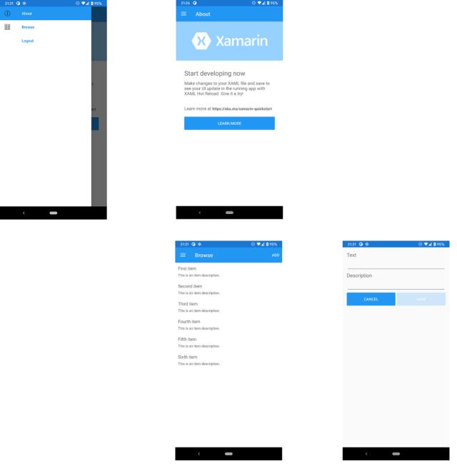 サンプルアプリの様子(Android)