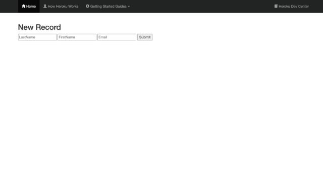 Heroku Connectによる取引先責任者の新規作成画面