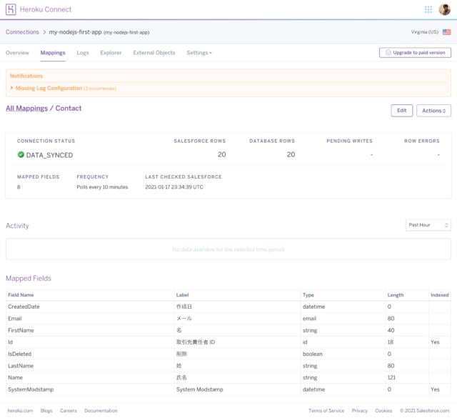 Heroku ConnectのMappings画面でContactを選択した状態