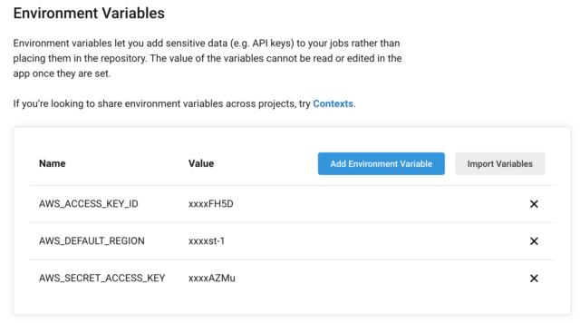 プロジェクトの環境変数を設定する
