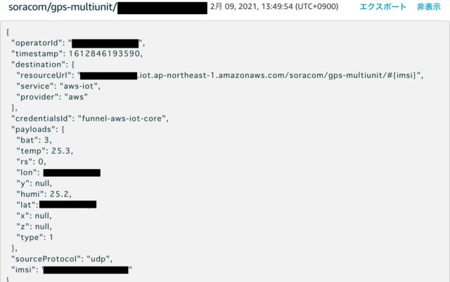 AWS IoT Coreに来たデータ