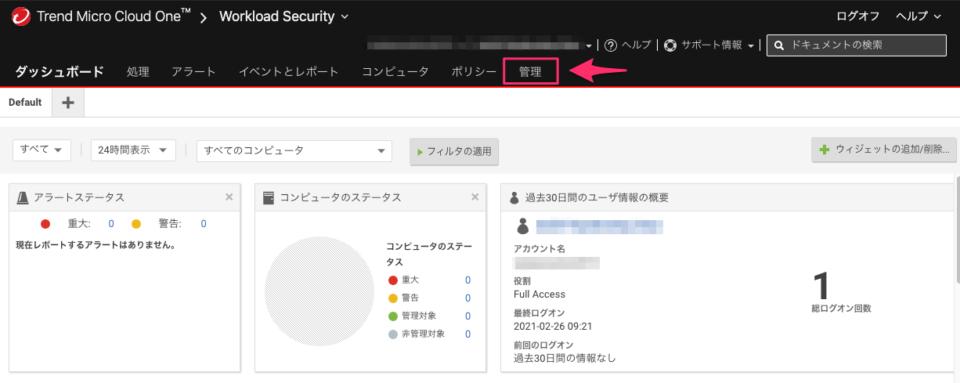 Workload Securityのダッシュボード