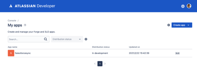 Jira Appの一覧画面