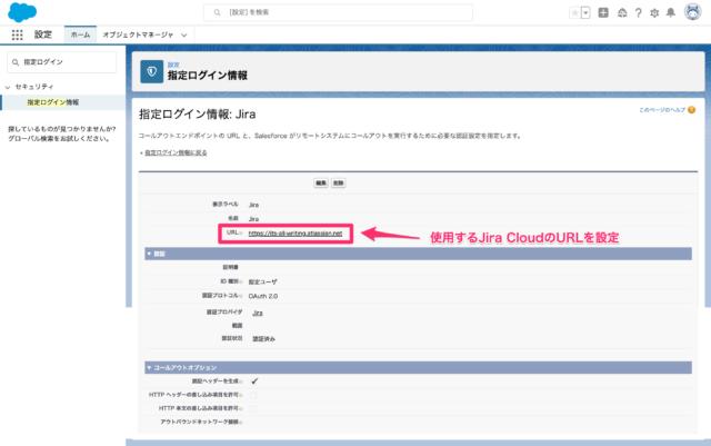 Salesforce 指定ログイン情報設定