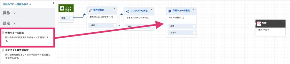 作業キューの設定ブロックを追加し、エディタに貼り付ける