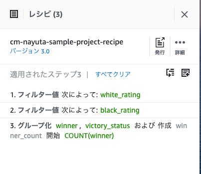 公開済みのレシピバージョン3.0